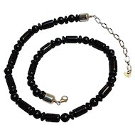 Jay King DRT onyx bead sterling silver necklace