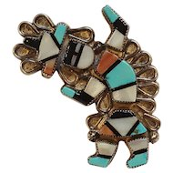 Zuni rainbow man pin inlay