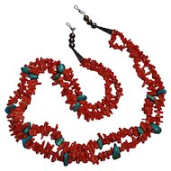Native American  coral  turquoise chip sterling  bench bead necklace