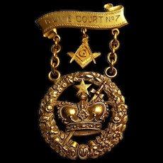 10K Gold Masonic order of Amaranth Royal Patron jewel pin