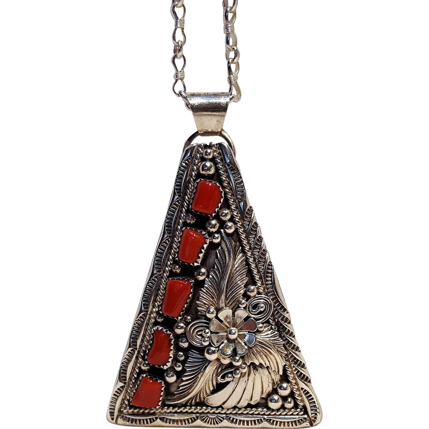 village a navajo original artist shop adobe by jewelry stary native american inlayed begay pend night pendant over fred sr hand reversible