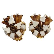Hattie Carnegie glass bell flower clip earrings chocolate brown givre glass
