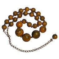 Bakelite bead necklace marbled inkspot