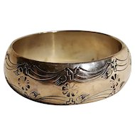 Native American sterling silver stamped bangle bracelet rare chunky wide Tahe