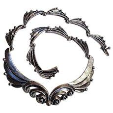 Margot de Taxco sterling necklace scalloped wings 5189.