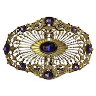 E.A. Bliss Antique Napier buckle amethyst glass stones