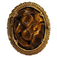 Chinese carved tigers eye poison ring silver gilt