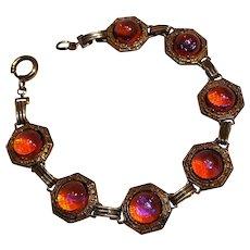 Glass jelly opal dragons breath bracelet Greek key design