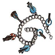 Christian enamel medal charm bracelet Mary Jesus Joseph