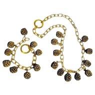 Celluloid chain pod drops necklace bracelet set