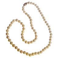 Cultured pearl bead necklace 14K clasp