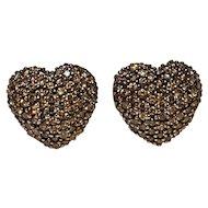 14K Gold fancy champagne  diamond heart earrings omega back John C Rinker