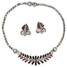 Mazer Bros red rhinestone rhodium plate necklace earrings set