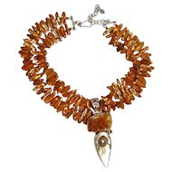Biwi blister pearl sterling silver druzy stone citrine necklace burnt orange