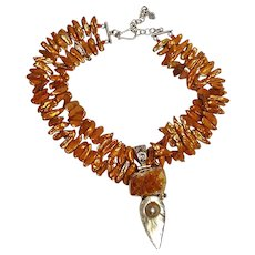 Biwi blister pearl sterling silver druzy stone citrine necklace burnt orange - Red Tag Sale Item