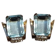 Mazer sterling vermeil earrings blue glass stone