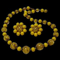 Venetian glass bead necklace earrings Italy gold foil opaque yellow