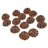 Rhinestone cluster buttons light topaz color 14