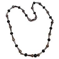 Taxco sterling onyx bead necklace Marmolejo Jose JMS TM-65