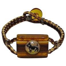 Applejuice Bakelite bracelet wood glass intaglio terrier dog braided chain