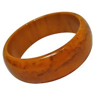 Marbled Bakelite bangle bracelet butterscotch chocolate brown