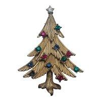 Trifari rhinestone Christmas tree pin multi color