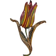 Tulip pin reverse painted lucite flower head