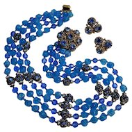 Risa Art glass  crystal rhinestone bead necklace earrings set