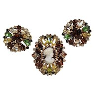 Hobe rhinestone cameo pin clip earrings set
