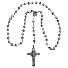 Sterling silver rosary specked glass beads