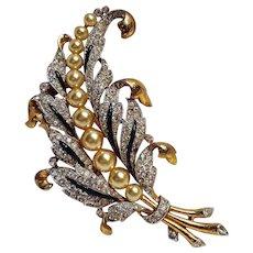 Trifari Empress Eugenie fur clip enamel rhinestone simulated pearl - Red Tag Sale Item