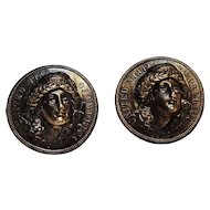 Cufflinks pop out Lady Liberty Barber dime 1913
