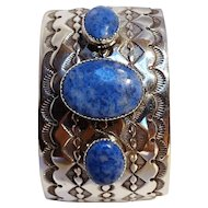 Southwest sterling silver denim lapis cuff bracelet