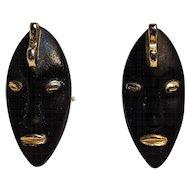 Swank black tribal face mask cufflinks