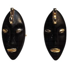 Swank black tribal face mask cufflinks