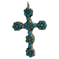Turquoise channel inlay cluster sterling silver cross pendant