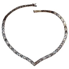Sterling silver Italy V style woven necklace