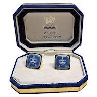 Royal Copenhagen porcelain cufflinks 1960's Swank in box
