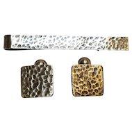 Rebajes sterling silver cufflinks tiebar set Midcentury Modern