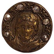 Sarah Bernhardt as Theodora button brass cut steel