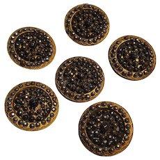 Antique cut steel on brass buttons set of six