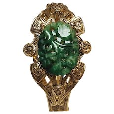 Whiting & Davis molded glass jade hinged  bracelet