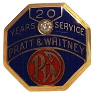 10K Gold enamel diamond hat badge Pratt & Whitney 20 years service award