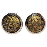Amita sterling silver locket cufflinks Asian Japanese damascene