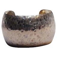 Sterling silver cuff bracelet Modern design heavily embossed