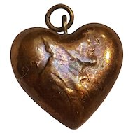 Folk Art copper penny heart charm Lincoln cent