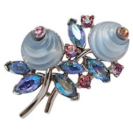 Miniature Trifari fruit salad pin shoebutton
