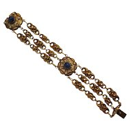 Hollow brass link bracelet lapis blue glass cabochon