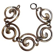 Sterling silver bracelet large swirl plaques