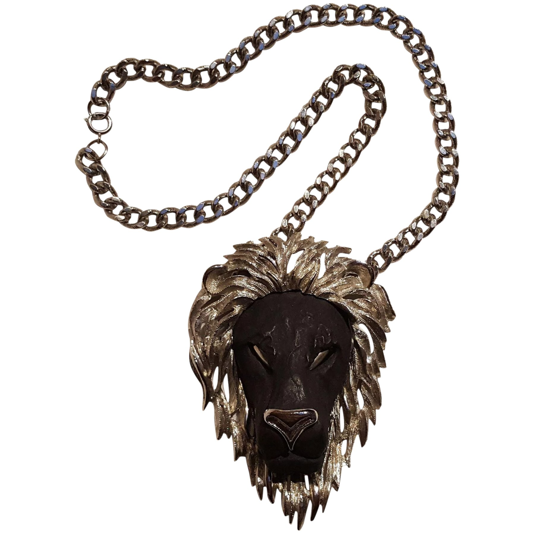 men necklace lyst pendant lion normal metallic head product in gallery jewelry for gucci with